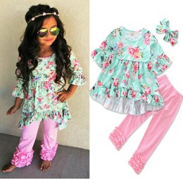 Wholesale Wholesalers For Childrens Clothing - 2017 Girls Childrens Clothing Sets floral clothes for kids Girls Floral Ruffled Tops Pink Lace Pants 2Pcs Fashion Girl Kids Apparel Boutique