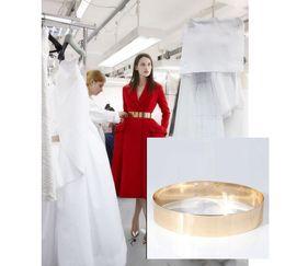 Wholesale Gold Metal Studs - Woman Shiny Mirror Metal Decor Stud Button Wide Slim Waist Gold Belt Apparel Accessories