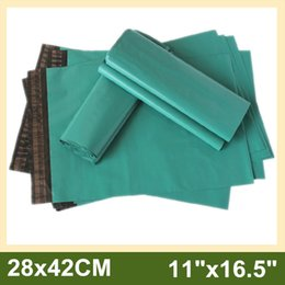 "Wholesale Mailing Envelopes Green - Wholesale 11""x16.5"" 28x42cm Green Poly Mailer Bags Plastic Envelope Bags Mailing Bags with Self-sealing Adhesive 400pcs lot"