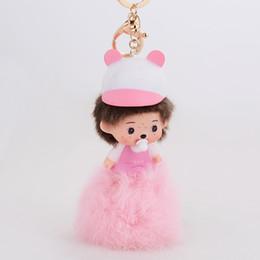 Wholesale Nipple Ring Men - kawaii doll rabbit hat key chain pink rabbit fur ball nipple key ring car key holder women bag charms wholesale price