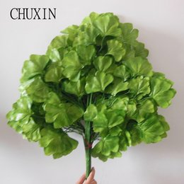 Wholesale Silk Flower Leaves Hanging - 12pcs Lot Artificial Leaves Ginkgo Trees Silk Flower Wall Hanging For Home Hotel Office Decoration Accessory Hall Ornament