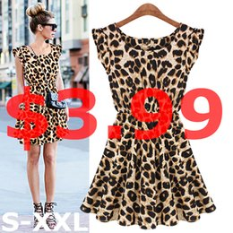 Wholesale Leopard Women Clothes - Wholesale-New 2015 Hot Sale Sexy Leopard Women Dress Casual Sleeveless Ruffles Vestidos Dresses Femininos Women Clothing Girl Sundress