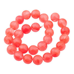 Wholesale 14mm White Stone Beads - Natural Clear Cherry Quartz 14mm Round Beads for DIY Making Charm Jewelry Necklace Bracelet loose 28PCS Stone Beads For Wholesales