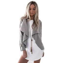 Wholesale Winter Coats Camel Color - Wholesale- Women Crop Coat Jacket Outwear Grey Camel Solid Color Casual Coat Long Sleeve Turn-down Collar Loose Coat Autumn Winter Jackets