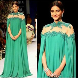 Wholesale Emerald Green Dress Size 16 - Emerald Green Dubai Evening Gowns High Sheer Neck Chiffon Maxi Arabic Prom Dresses Evening Wear For Women Plus Size Formal Party Gowns 2015