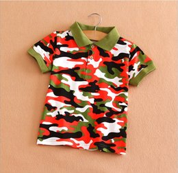 Wholesale Camouflage Sleeves T Shirts Children - 2015 New Arrivals Children's T-shirt Baby Boys Summer Camouflage Short Sleeve T-shirt Kids Clothing Child Casual Turn-down Shirt 5pcs lot