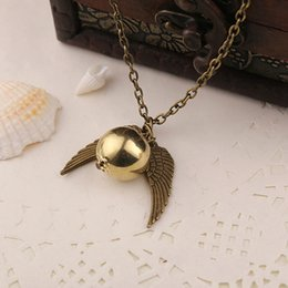 Wholesale Wholesale Jewelry Charms Pendants - movie jewelry Harry Pendant Necklace potter The Deathly Hallows Antique Bronze Snitch The Golden Snitch Charms Pendant Necklace 2 Colors