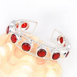 Wholesale Quartz Crystal 925 - Special Gift Shine Crystal Fire Round Red Quartz Gemstone 925 Sterling Silver Plated Heart Bracelet Bangle Russia Bracelet Jewelry