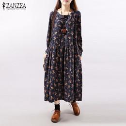 2dbd8537273c All ingrosso- Abiti 2017 Autunno ZANZEA Donna Vintage Floral Dress Stampa Manica  lunga O Collo Tasche Allentato Casuale Mid-vitello Abiti Plus Size