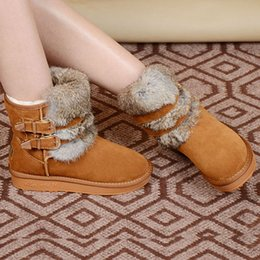 Wholesale Thick Heel Tube - MNS genuine leather snow boots female rabbit -in-tube snow boots female boots double buckle boots female thick skid