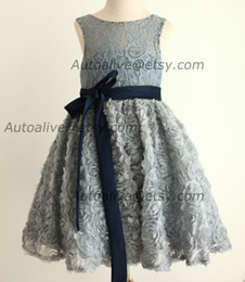 Wholesale Navy Blue Baby Bow - Gray Lace Rosette Keyhole Flower Girl Dress Communion Baptism Junior Bridesmaid Dress Baby Girl Dress Navy Blue Bow Sash Wedding