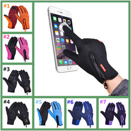 Wholesale Wholesale Thermal Gloves - Outdoor Winter Thermal Sports Bike Gloves Windproof Warm Full Finger Cycling,Ski,Motorcycle,Hiking Glove for Phone Touch Screen