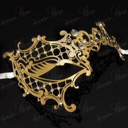 Wholesale Lady Metal Mask - Wholesale-2015 Popular GOLD Phantom Metal Laser Cut Venetian Halloween Costume Elegant mask Lady Masquerade Half Face Princess Mask Party