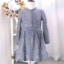 Wholesale Gray Tutus For Girls - Baby Girls Lace Tutu Dresses Spring Children Long Sleeve for Kids Clothing 2016 New Party Lace Dress