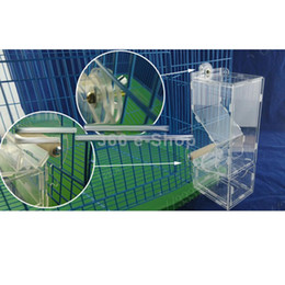 Wholesale Cage Feeders - Wholesale-Clear Acrylic Pet Parrot Bird Automatic Cage Feeder Size Small Single Hopper Free Shipping