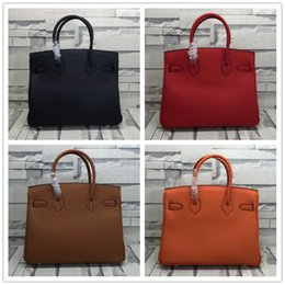 Wholesale Cosmetic Discounts - Women Bag Brand Handbag 35cm Genuine leather Holder for pc pad cellphone books cosmetics top quality with sercial code promotional discount