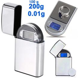 Piezas de diamante online-Mini LCD bolsillo digital tipo encendedor escala joyería Gold Diamond balanza electrónica Gram con luz de fondo 100g / 0.01 200g / 0.01 en stock 20 unidades