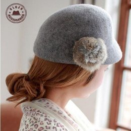 Wholesale Youth Hair - Wholesale-2015 Cap Cap Baby Snapback Women Autumn And Winter Wool Hat Youth Fashion With Rabbit Hair Ball Fedora Visors Beret [gen-315]