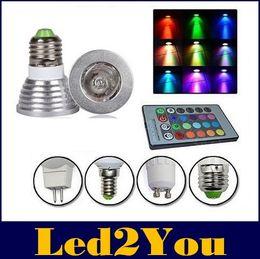 Wholesale B22 Led Color - E27 E26 E14 GU10 MR16 3W RGB Led Lights Memory 16 Color Changing For Chritmas Party Lighting + 24Keys IR Remote Control