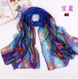 Wholesale Price Peacock Feathers - Special Price Upscale Autumn Scarf Voile Printed Long Scarves For Women Lady Peacock Feather Pattern Fashion Accessories