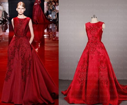Wholesale Saab Wedding Dresses Sleeve - Real Sample Picture Elie Saab Evening Dress A Line Satin Evening Gown With Lace Appliques 2015 evening dresses prom gown Wedding Dress