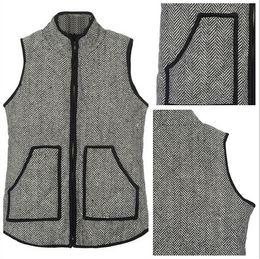 Wholesale European Inspired - 2015 Standing Collar Women's Cotton Herringbone Vest Designer Inspired Herringbone vest Coats Quilted Cotton Puffer Vest Plus Size S-3XL