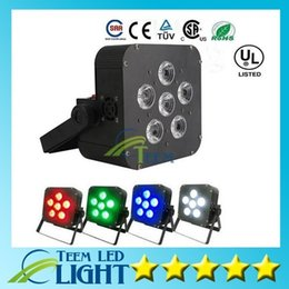 Wholesale battery par - DHL 6x8w LED Par Light Wireless 4in1 Battery led flat Wireless & DMX LED Stage Battery Powered led flat par lights Club Lighting 2020