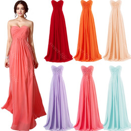 Wholesale Mint Chiffon Dresses - 2015 In Stock Cheap Bridesmaid Dresses Sexy Coral Mint Red Orange Lilac Champagne Sweetheart Lace Up Maid of Honor Formal Prom Dress Gowns