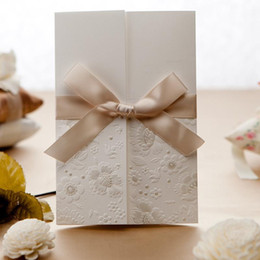 Wholesale White Embossed Wedding Invitations - 2015 Wedding   Event Invitations Card Delicated Vintage Embossed Tri-fold With Elegant Ribbon Bow Free Customized Printing Text GW121