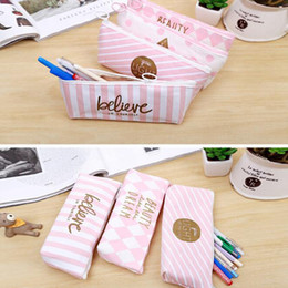 Wholesale kawaii pencil cases - 10pcs Pink Pen bag Cute Dot Stripe Pencilcase Stationery School Supplies Kawaii Letter Pencil Case for girls Canvas Pen Box