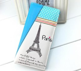 Wholesale Paris Clutch - Fashion New Paris Tower Long Wallet Smooth PU Leather Brand New Money Purse Credit Card Holder Lady Coin Purses Clutch
