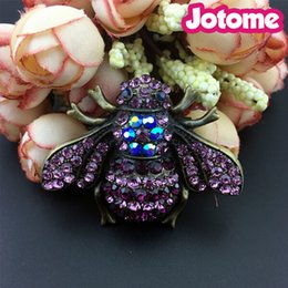 Wholesale Bee Brooches Pins - 5pcs lot High quality Large custom 50mm vintage fashion bumble bee rhinestone brooches pins, honey bee insect brooch