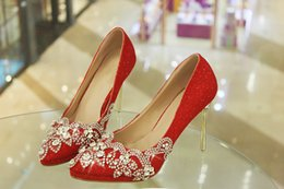 Wholesale Mix Crystal Points - 2016 New Fashion Luxurious Sparkling Crystal Red Wedding Shoes Custom Made Size Pointed Toe High Heel Bridal Shoes Party Prom Women Shoes