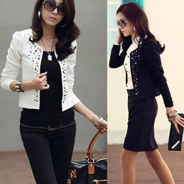 Wholesale Cool Long Shorts - New Lady's Long Sleeve Shrug Suits small Jacket Fashion Cool Women's Rivet Coat Black And White color jackets Free shipping