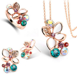 Wholesale Asian Wedding Rings Online - Earrings Necklace Rings Sets Shinning Crystal Wedding Jewelry Set for Brides Fashion Women Designer Jewelry Online 5043