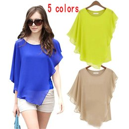 Wholesale Bat Sleeve Girls Shirt - Women irregular Flounced Chiffon Blouse Bat Sleeves Round Neck Chiffon T Shirt Tops Sexy Elegant Loose shirts Cheap Girls Blouses Tops