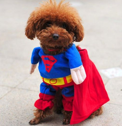 Wholesale Dog Cosplay - Pet Dog Clothes Superman Funny Dog Custome Cosplay Cat Outfit Party Coat Party Coat