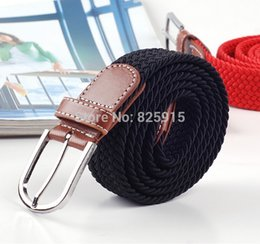 Wholesale Black Belts Elastic Stretch - Wholesale-1Pcs Soild Black Elastic Woven Belt For Men Women New Plus Length Stretch Belt Longest Belt Unisex Elastic Belt Canvas 120cm
