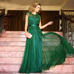 Wholesale emerald green sashes - Emerald Green Evening Dresses A-Line Sequins Chiffon Floor Length jewel Sheer Neck Prom Dresses Party Gown vestidos festa With Satin Sash