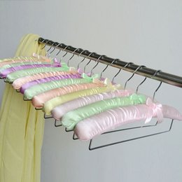 Wholesale Pants Lock - Colorful Satin Padded Hanger for Pants Towel Scarf and Blanket With Locking Bar