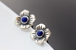 Wholesale Nails Ge - Ecoworld Ge hand set jewelry wholesale natural Lapis Thai Tremella nail 925 Sterling Silver Vintage Style Earrings