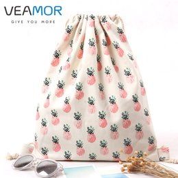 Wholesale Types Girl Shoes - Wholesale- VEAMOR Girls Shoes Bags Women Cotton Canvas Shoulder Bags Drawstring Pineapple Printing Clothes Storage Bags WB327