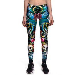 6d2d196aeb 2017 New 0064 Fashion Rose Skull king cobra Love Prints Sexy Girl Pencil  Yoga Pants GYM Fitness Workout High Waist Women Leggings