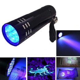Wholesale Mini Portable Lamp - New Arrival Mini Aluminum Portable UV Ultra Violet Blacklight 9 LED Flashlight UV Flashlight Torch Light Lamp Flashlight Camping Torches