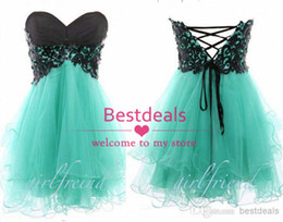 Wholesale Organza Corset Homecoming Dresses - 2015strapless Sweetheart homecoming dresses with black lace Organza top corset back A line puffy mini short tulle prom dresses free shipping