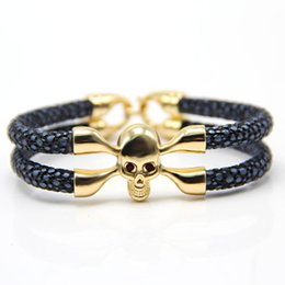 Wholesale Bracelets Leather Customized - Wholesale-Customize New Arrival baseball stingray leather skull bracelet Luxury man Skull Bracelet handmade high qaulity leather bracelet