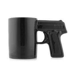 Wholesale Coffee Cup Pistol Handle - New Black Fashion Unique Creative Pistol Gun Handle Ceramic Coffee Mug Drinking Tea Cup Gift Home Bar