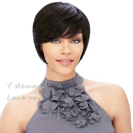 Wholesale Ladies Wigs Short Styles - None Lace Straight Human hair wigs Cheap Pixie Cut short with baby hair african hair cut style brazilian Ladies wig for black women