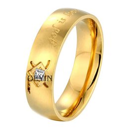 Wholesale Real White Gold Couples Ring - Top Quality 18K Yellow Gold Plated Crystal Couple Wedding Rings For Women Men Real Gold Plated Men's Rings