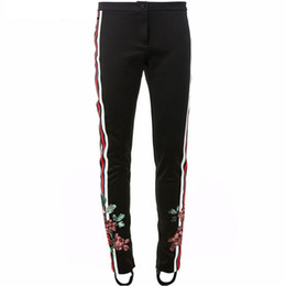 Wholesale Winter Woman Trousers - Brand Designer Women Embroidered Leggings Pants 2017 Autumn Winter Fashion Narrow Foot Pencil Tracksuits Zipper Trousers Streetwear